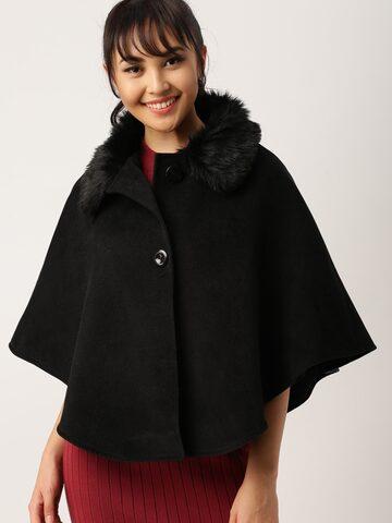 DressBerry Black Cape-Style Coat DressBerry Coats at myntra