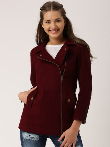 Dressberry Burgundy Longline Coat at myntra