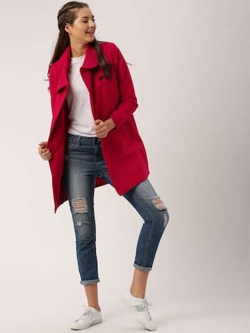 DressBerry Red Longline Coat at myntra
