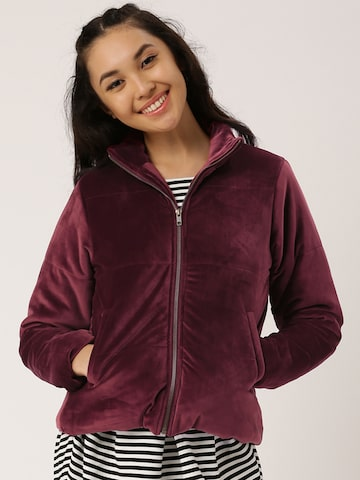 DressBerry Women Burgundy Solid Bomber at myntra