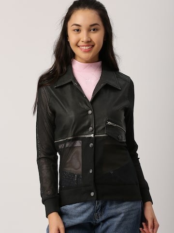 DressBerry Women Black Solid Detachable Jacket DressBerry Jackets at myntra