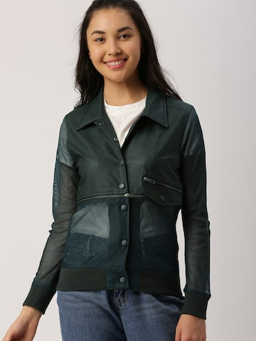 DressBerry Women Teal Green Solid Detachable Jacket DressBerry Jackets at myntra