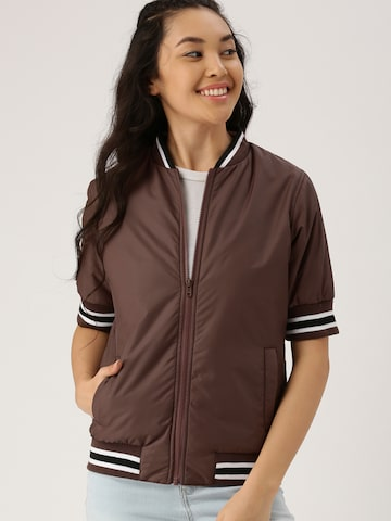 DressBerry Women Taupe Solid Bomber Jacket at myntra