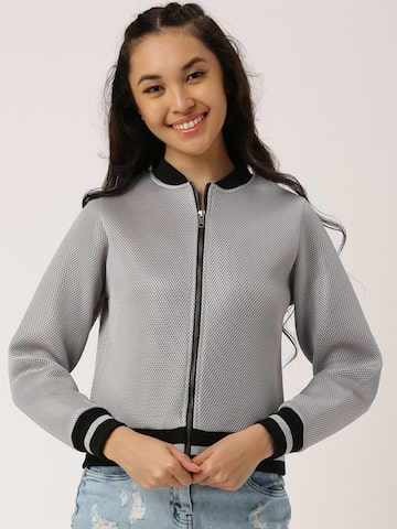 DressBerry Women Grey Self Design Bomber Jacket at myntra
