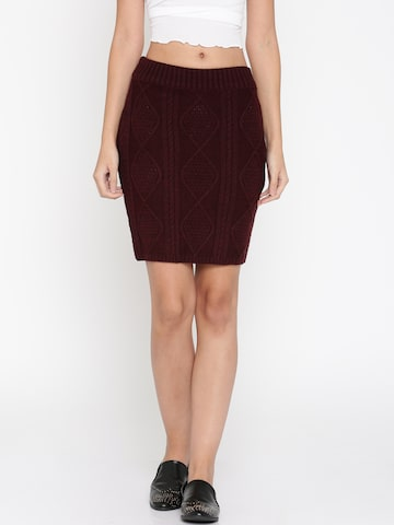 DressBerry Maroon Pencil Skirt DressBerry Skirts at myntra