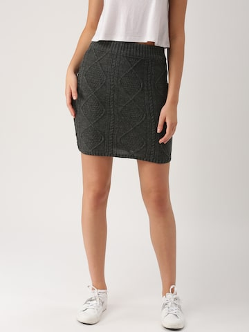 DressBerry Charcoal Grey Self-Design Pencil Skirt at myntra