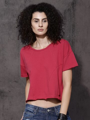 Roadster Women Pink Solid Round Neck T-shirt at myntra