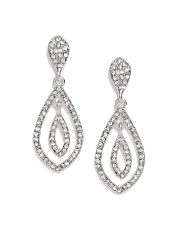 Accessorize Silver-Toned Teardrop Shaped Drop Earrings at myntra