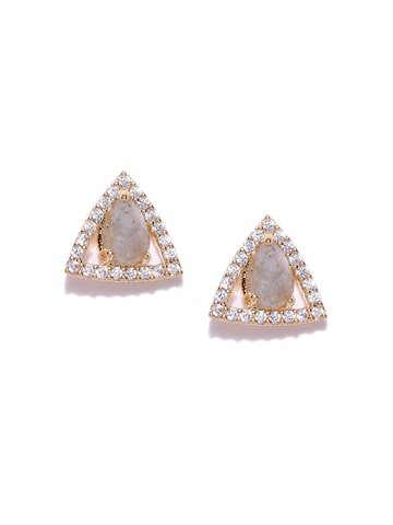 Accessorize Grey Triangular Gold-Plated Stud Earrings at myntra