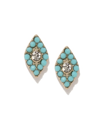 Accessorize Turquoise Blue Leaf Shaped Studs at myntra