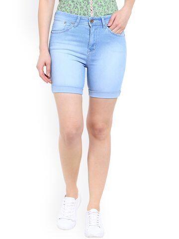 TARAMA Women Blue Washed Denim Shorts at myntra