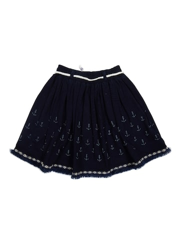 Palm Tree Girls Navy Printed Flared Skirt at myntra