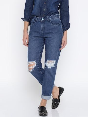 Kook N Keech Women Blue Boyfriend Fit Mid-Rise Mildly Distressed Jeans Kook N Keech Jeans at myntra