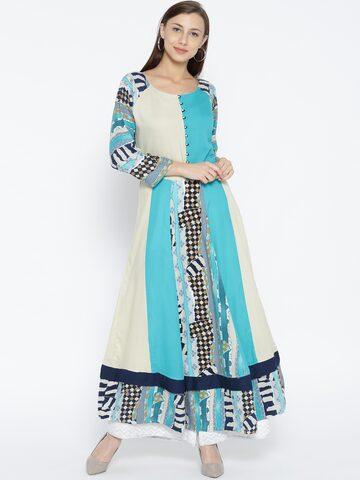 Shree Women Blue & Cream-Coloured Printed Anarkali Kurta at myntra