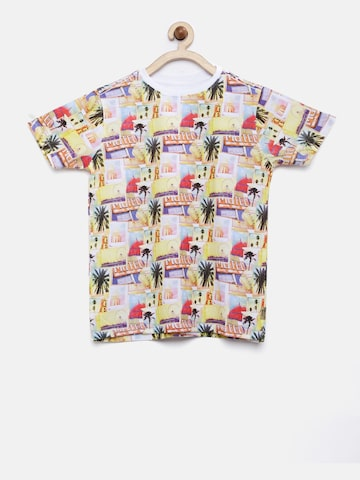 Flying Machine Boys Multicoloured Printed Round Neck T-shirt at myntra