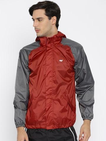 Wildcraft Red & Grey Waterproof Rain Jacket at myntra