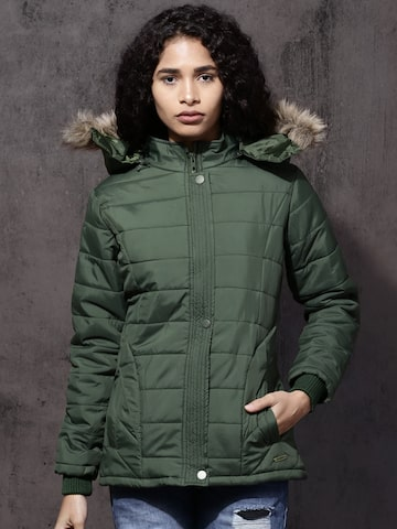 Roadster Women Olive Green Solid Puffer Jacket Roadster Jackets at myntra