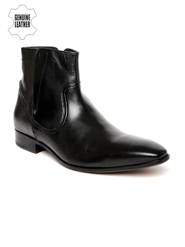 Hush Puppies Men Black Solid Genuine Leather Elan High-Top Flat Boots at myntra