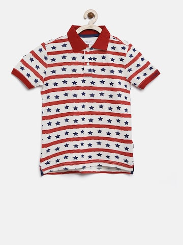 U.S. Polo Assn. Kids Boys Off-White & Red Printed Polo T-shirt U.S. Polo Assn. Kids Tshirts at myntra