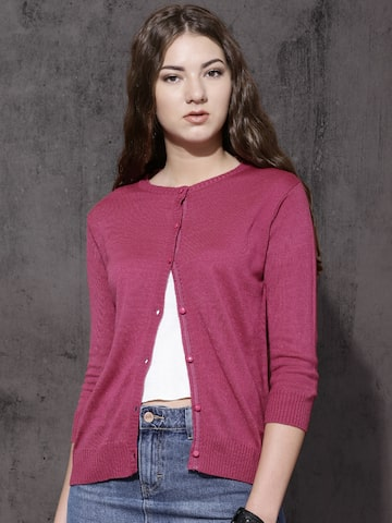 Roadster Women Pink Solid Cardigan at myntra