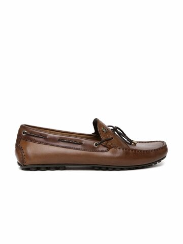 Tommy Hilfiger Men Brown Leather Boat Shoes at myntra