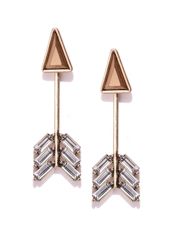 Golden Peacock Gold-Plated Arrow-Shaped Stone-Studded Ear Jackets at myntra