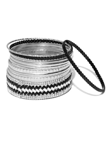 Golden Peacock Set of 11 Silver-Plated Bangles at myntra