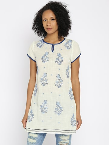 Fusion Beats White & Blue  Embroidered Tunic at myntra