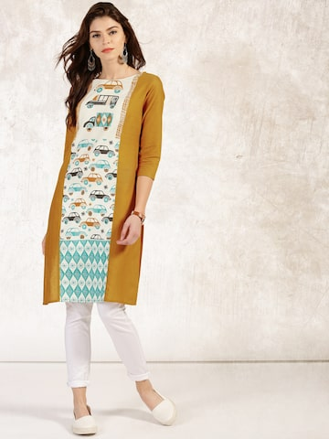 Anouk Women Off-White & Mustard Yellow Printed Straight Kurta at myntra