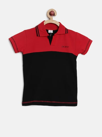 GKIDZ Boys Red & Black Colourblocked Polo Collar T-shirt at myntra