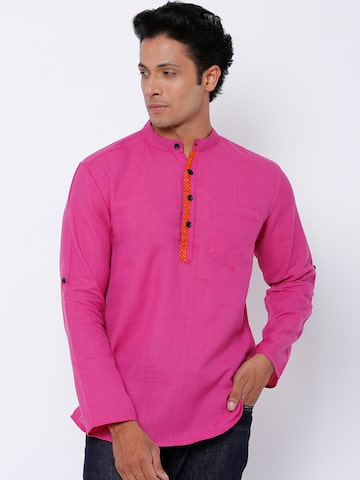 Svanik Men Pink Solid Short Kurta at myntra