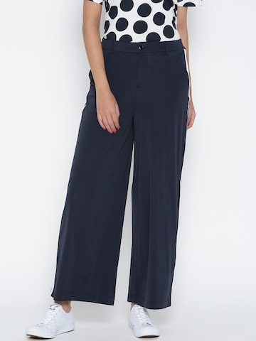 ONLY Women Navy Blue Solid Parallel Trousers at myntra