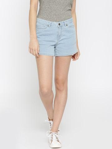Vero Moda Women Blue Solid Denim Shorts at myntra