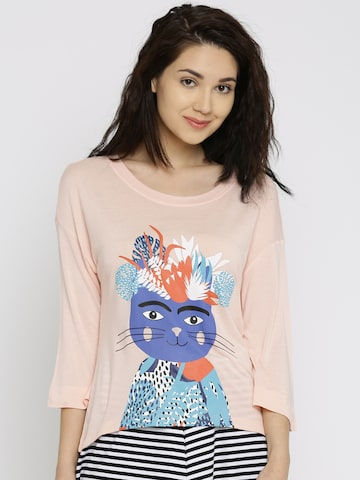 Vero Moda Women Peach Printed Round Neck T-shirt at myntra