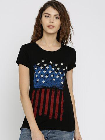 Vero Moda Women Black Printed Round Neck T-Shirt at myntra