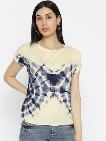 Ed Hardy Women Cream-Coloured Dyed Top Ed Hardy Tops at myntra