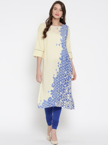 AURELIA Women Cream-Coloured & Blue Printed Straight Kurta at myntra