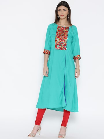 Shree Women Green Embroidered A-Line Kurta at myntra