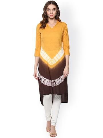 Prakhya Women Yellow & Brown Dyed Straight Kurta at myntra
