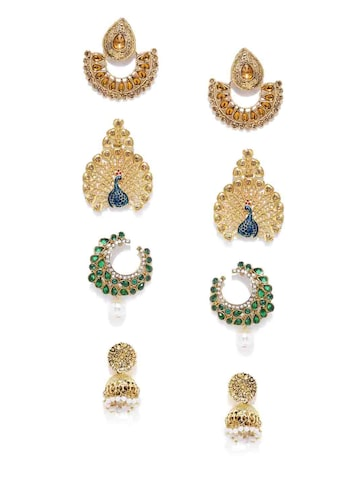 Zaveri Pearls Set of 4 Gold-Plated Earrings at myntra