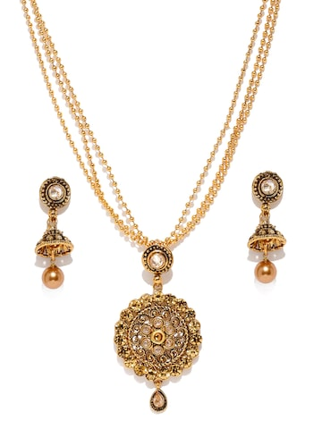 Zaveri Pearls Antique Gold-Toned Embellished Jewellery Set at myntra
