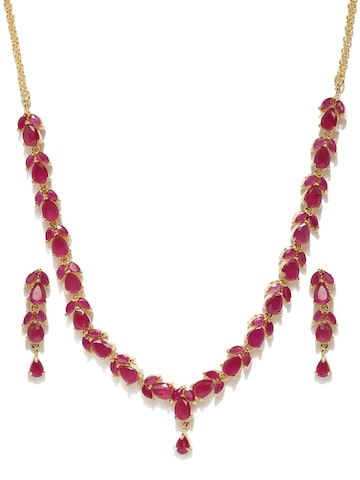 Zaveri Pearls Gold-Toned & Red Stone-Studded Jewellery Set at myntra