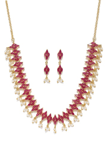 Zaveri Pearls Gold-Toned & Pink Stone-Studded Jewellery Set at myntra
