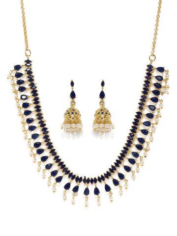 Zaveri Pearls Navy & Gold-Toned Jewellery Set at myntra