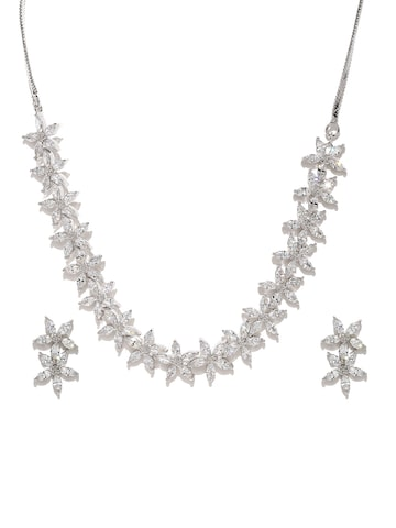 Zaveri Pearls Silver-Toned CZ Stone-Studded Jewellery Set at myntra