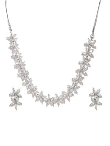 Zaveri Pearls Silver-Toned CZ Stone-Studded Jewellery Set at myntra