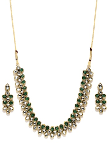 Zaveri Pearls Antique Gold-Toned & Green Jewellery Set at myntra