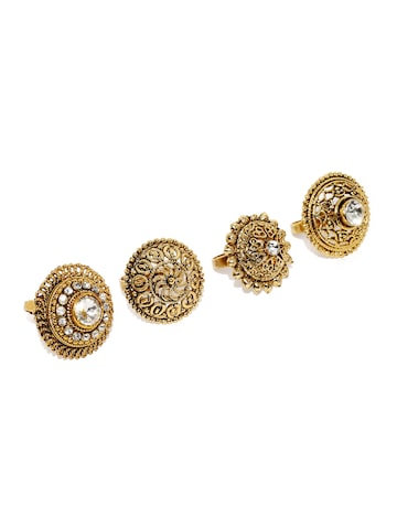 Zaveri Pearls Set of 4 Antique Gold-Toned Adjustable Rings at myntra