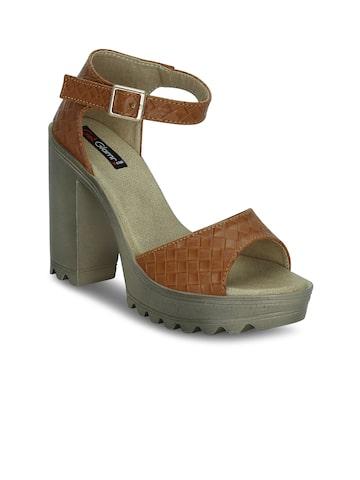 Get Glamr Women Tan Brown Woven Design Block Heels at myntra