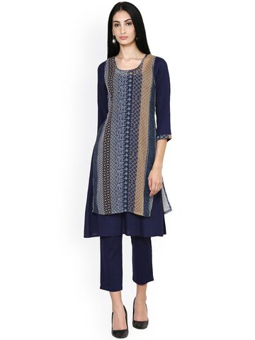 Ayaany Women Blue Printed A-Line Kurta at myntra